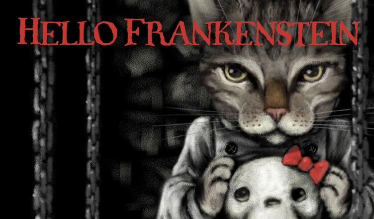 Gothic Frankenstein kitty with bow.