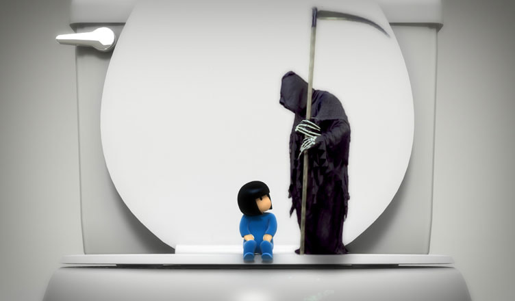 Grim Reaper and Sister on Toilet
