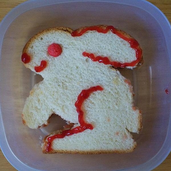Sandwich shaped like a bunny.