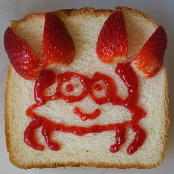 Sandwich shaped like a crab.